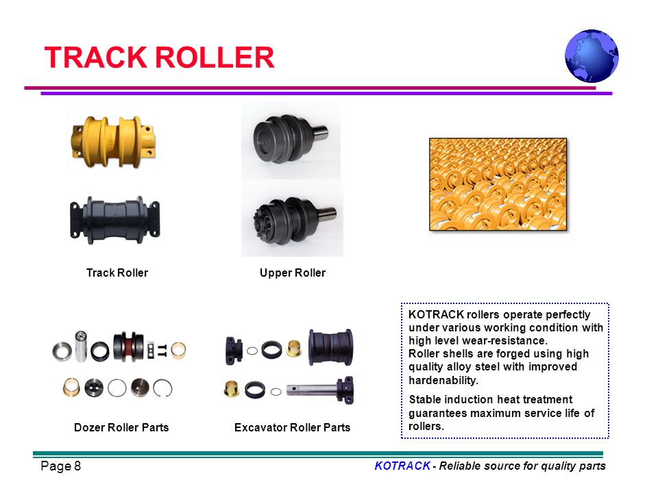 Page 8 TRACK ROLLER KOTRACK - Reliable source for quality parts Excavator Roller PartsDozer Roller Parts Track RollerUpper Roller KOTRACK rollers operate perfectly under various working condition with high level wear-resistance.