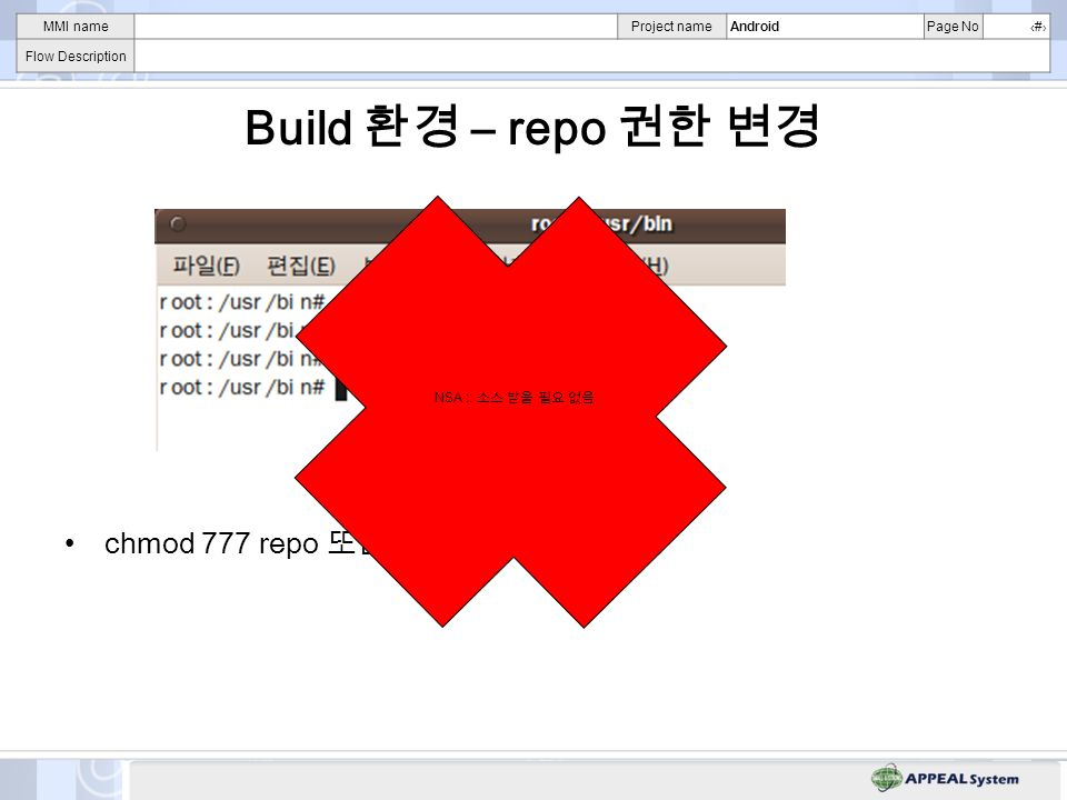 MMI nameProject nameAndroidPage No# Flow Description Build – repo chmod 777 repo chmod a+w repo NSA ::