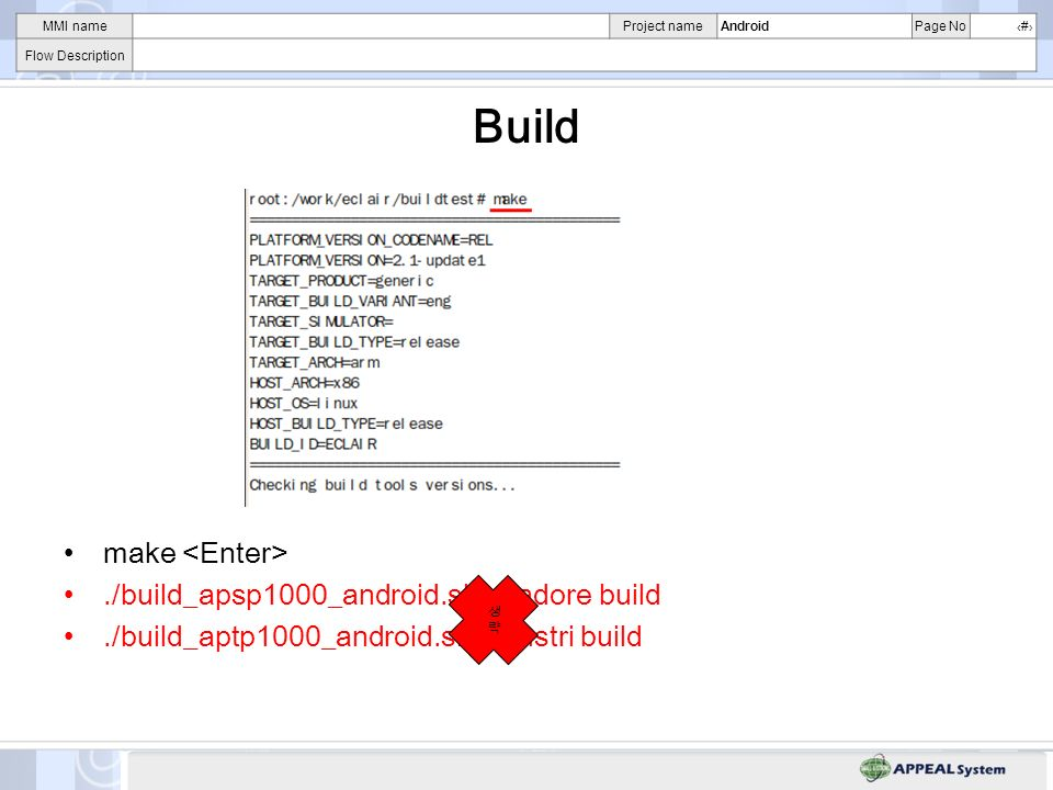 MMI nameProject nameAndroidPage No# Flow Description Build make./build_apsp1000_android.sh : adore build./build_aptp1000_android.sh : austri build