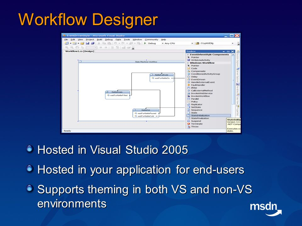 Workflow Designer Hosted in Visual Studio 2005 Hosted in your application for end-users Supports theming in both VS and non-VS environments