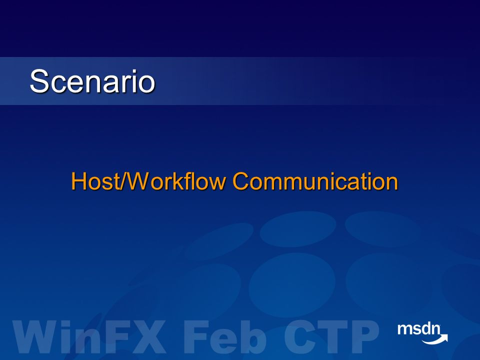 Host/Workflow Communication Scenario