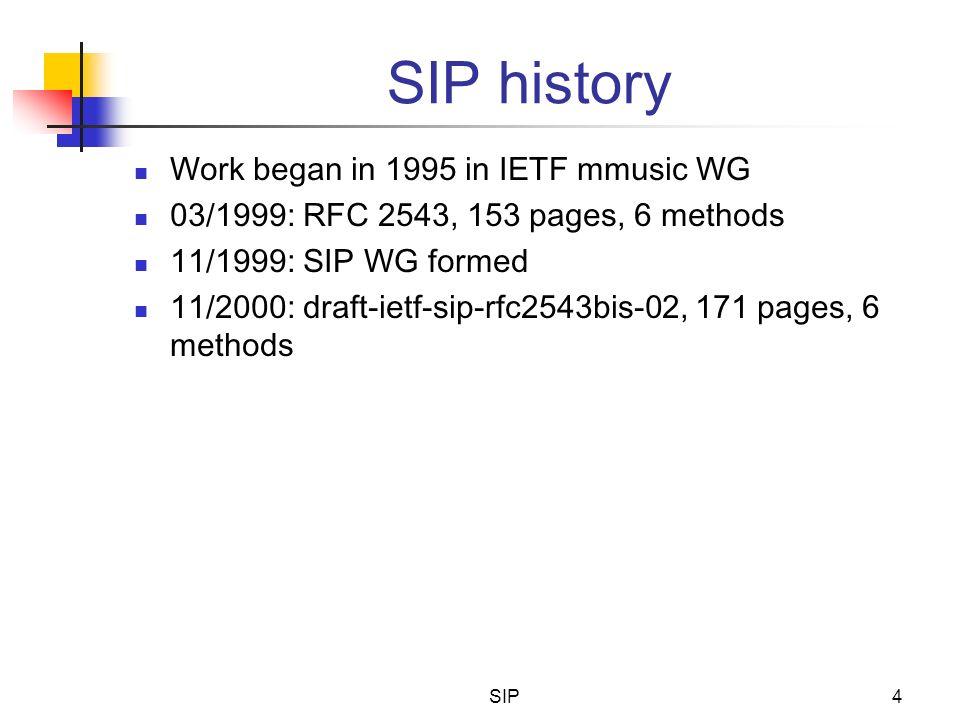 SIP4 SIP history Work began in 1995 in IETF mmusic WG 03/1999: RFC 2543, 153 pages, 6 methods 11/1999: SIP WG formed 11/2000: draft-ietf-sip-rfc2543bi