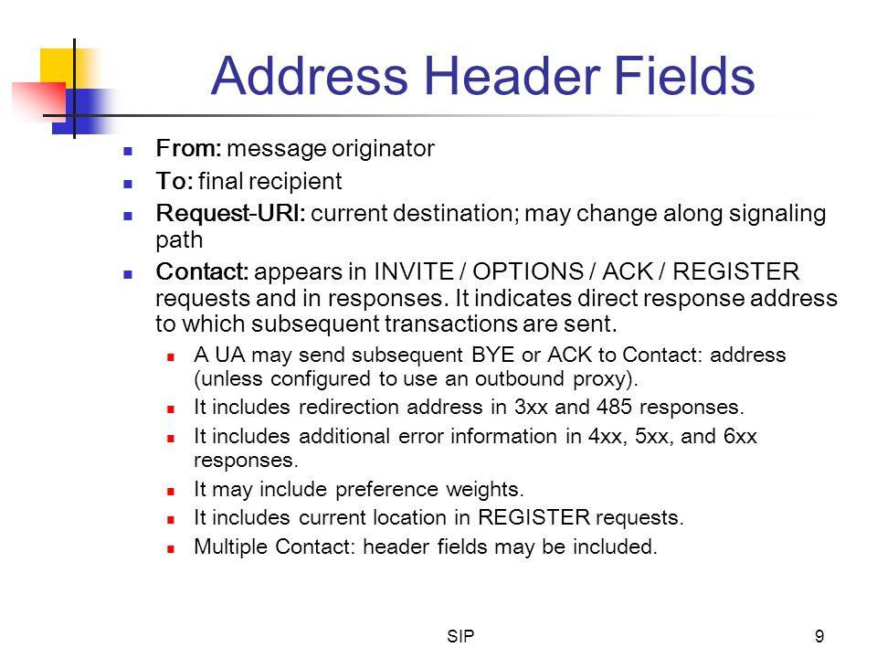 SIP9 Address Header Fields From: message originator To: final recipient Request-URI: current destination; may change along signaling path Contact: app