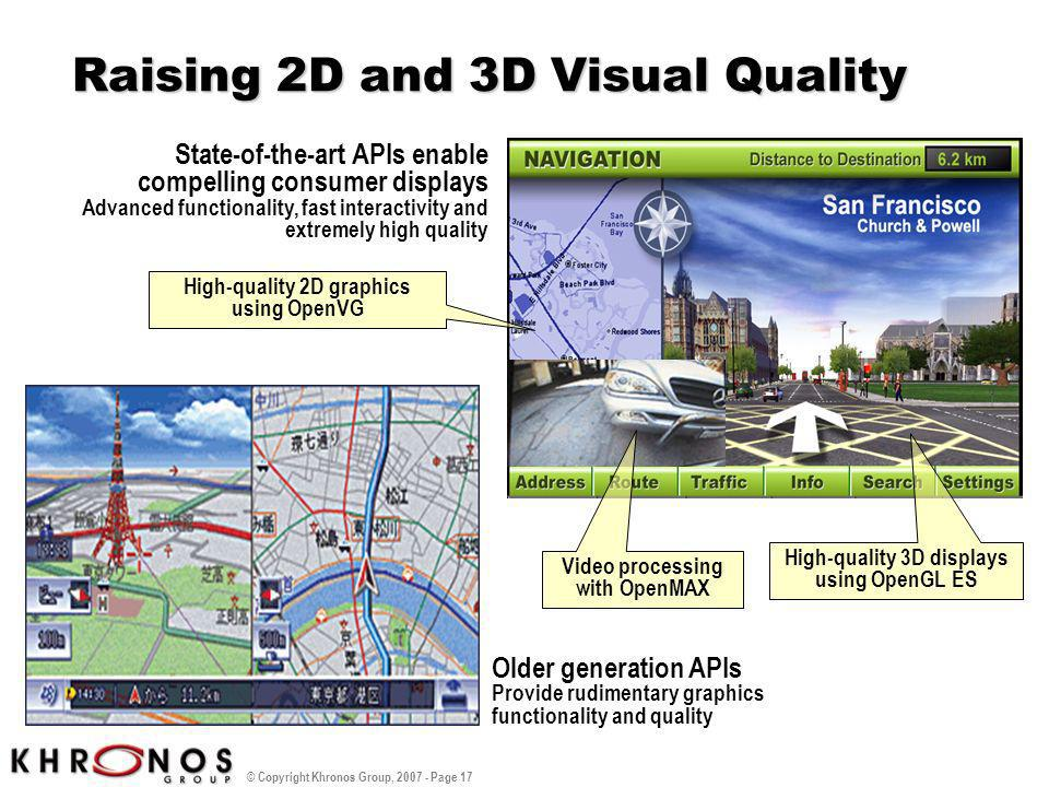 © Copyright Khronos Group, 2007 - Page 17 Raising 2D and 3D Visual Quality Older generation APIs Provide rudimentary graphics functionality and qualit