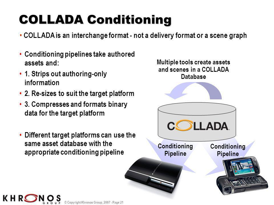 © Copyright Khronos Group, 2007 - Page 21 COLLADA Conditioning Conditioning pipelines take authored assets and: 1. Strips out authoring-only informati