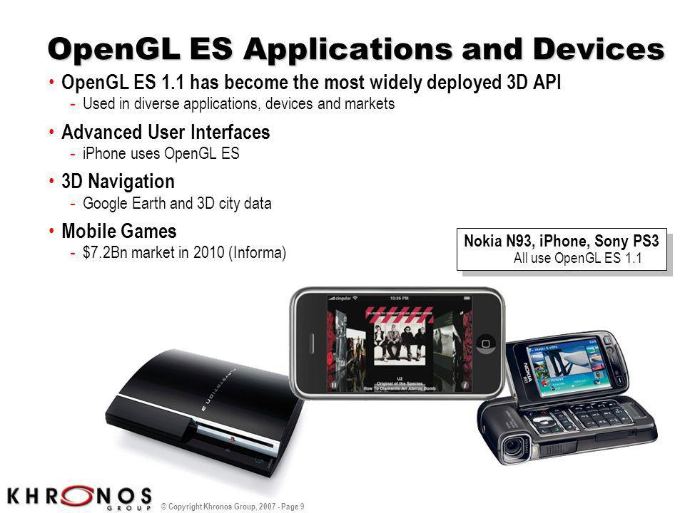 © Copyright Khronos Group, 2007 - Page 9 OpenGL ES Applications and Devices OpenGL ES 1.1 has become the most widely deployed 3D API - Used in diverse