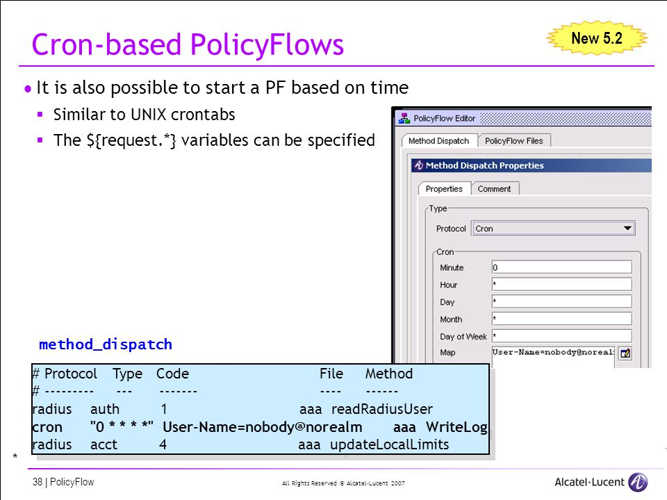 All Rights Reserved © Alcatel-Lucent 2007 38 | PolicyFlow Cron-based PolicyFlows It is also possible to start a PF based on time Similar to UNIX crontabs The ${request.*} variables can be specified New 5.2 # Protocol Type CodeFileMethod # --------- --- ----------------- radius auth 1 aaa readRadiusUser cron 0 * * * * User-Name=nobody@norealm aaa WriteLog radius acct 4 aaa updateLocalLimits # Protocol Type CodeFileMethod # --------- --- ----------------- radius auth 1 aaa readRadiusUser cron 0 * * * * User-Name=nobody@norealm aaa WriteLog radius acct 4 aaa updateLocalLimits method_dispatch *