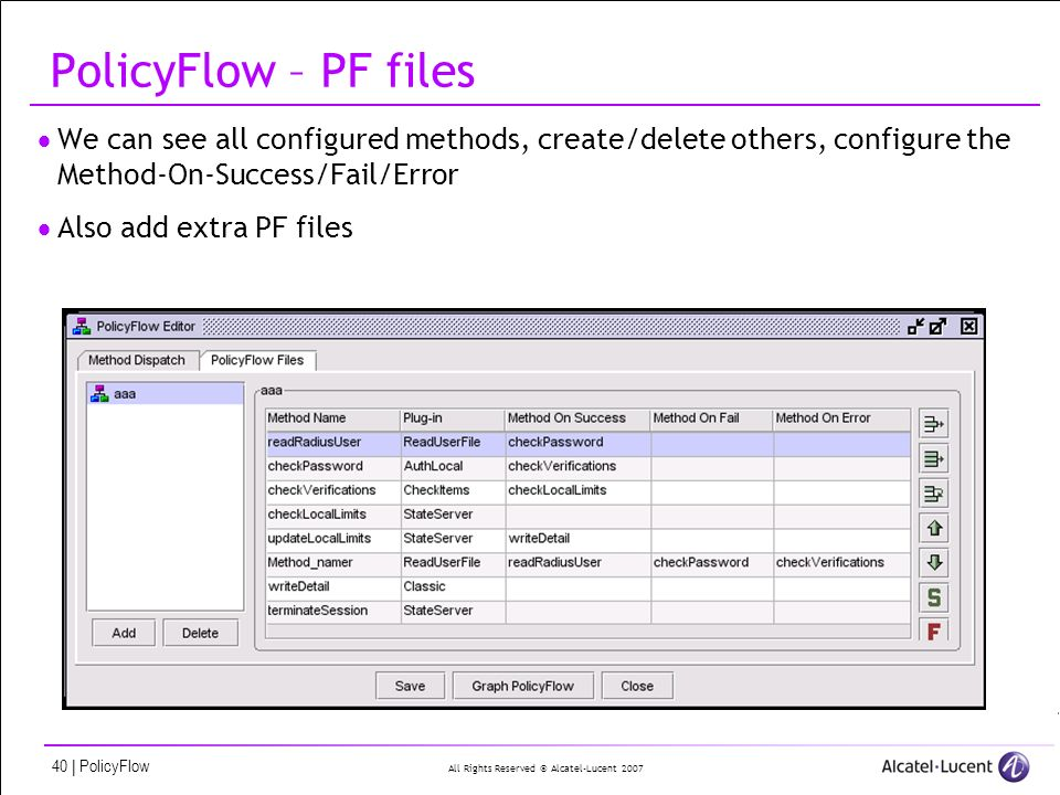 All Rights Reserved © Alcatel-Lucent 2007 40 | PolicyFlow PolicyFlow – PF files We can see all configured methods, create/delete others, configure the Method-On-Success/Fail/Error Also add extra PF files