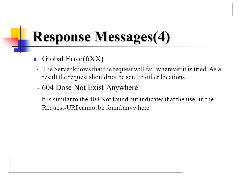 Response Messages(4) Global Error(6XX) -The Server knows that the request will fail wherever it is tried. As a result the request should not be sent t