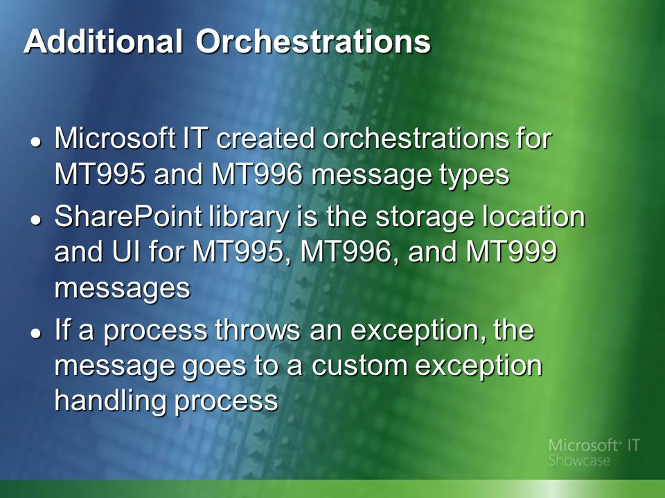 Additional Orchestrations Microsoft IT created orchestrations for MT995 and MT996 message types Microsoft IT created orchestrations for MT995 and MT996 message types SharePoint library is the storage location and UI for MT995, MT996, and MT999 messages SharePoint library is the storage location and UI for MT995, MT996, and MT999 messages If a process throws an exception, the message goes to a custom exception handling process If a process throws an exception, the message goes to a custom exception handling process