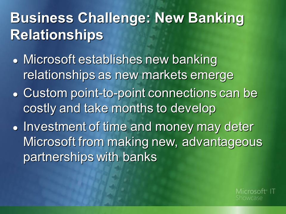 Business Challenge: New Banking Relationships Microsoft establishes new banking relationships as new markets emerge Microsoft establishes new banking relationships as new markets emerge Custom point-to-point connections can be costly and take months to develop Custom point-to-point connections can be costly and take months to develop Investment of time and money may deter Microsoft from making new, advantageous partnerships with banks Investment of time and money may deter Microsoft from making new, advantageous partnerships with banks