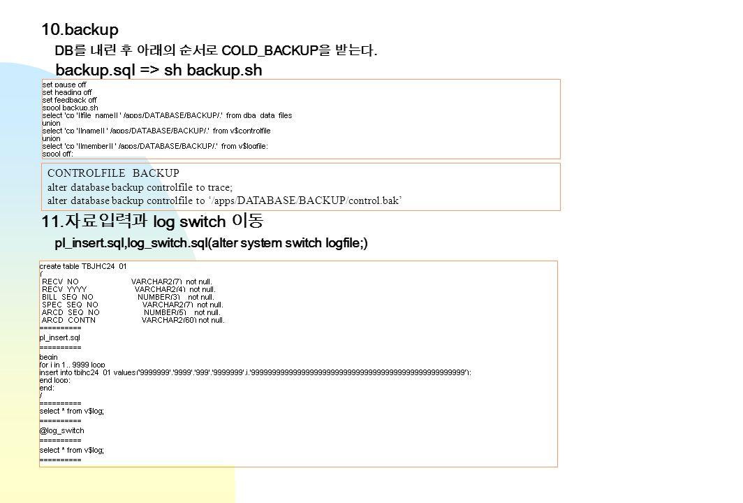 10.backup DB COLD_BACKUP. backup.sql => sh backup.sh CONTROLFILE BACKUP alter database backup controlfile to trace; alter database backup controlfile