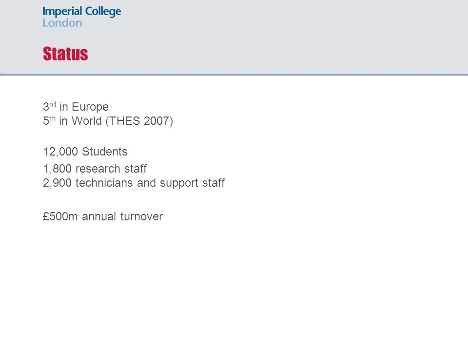 Status 3 rd in Europe 5 th in World (THES 2007) 12,000 Students 1,800 research staff 2,900 technicians and support staff £500m annual turnover