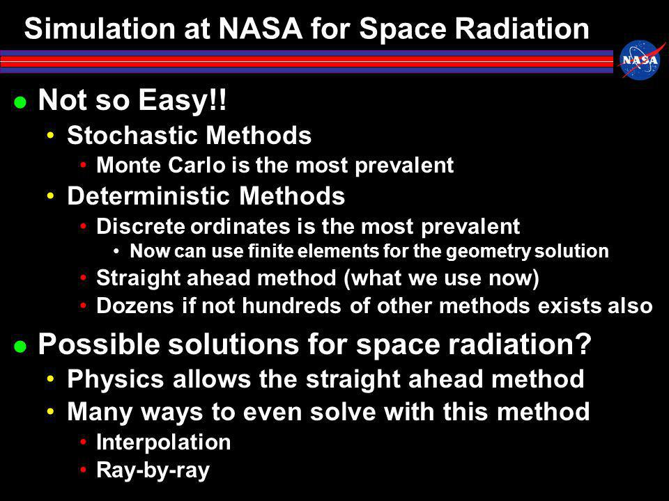 Simulation at NASA for Space Radiation Not so Easy!.