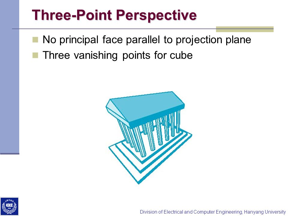 Division of Electrical and Computer Engineering, Hanyang University Three-Point Perspective No principal face parallel to projection plane Three vanis