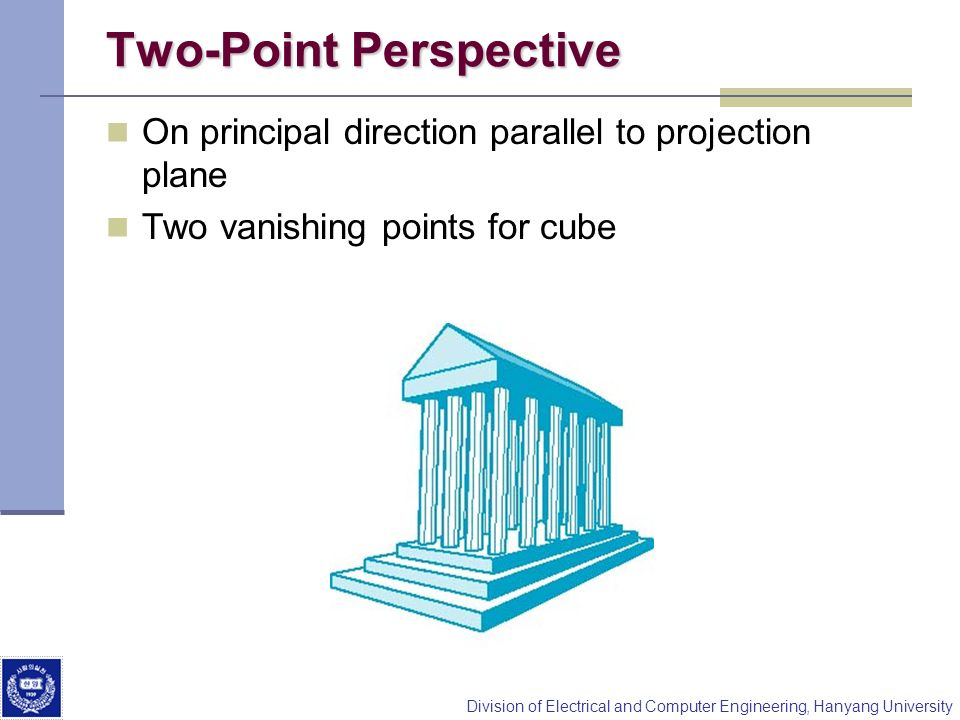 Division of Electrical and Computer Engineering, Hanyang University Two-Point Perspective On principal direction parallel to projection plane Two vani