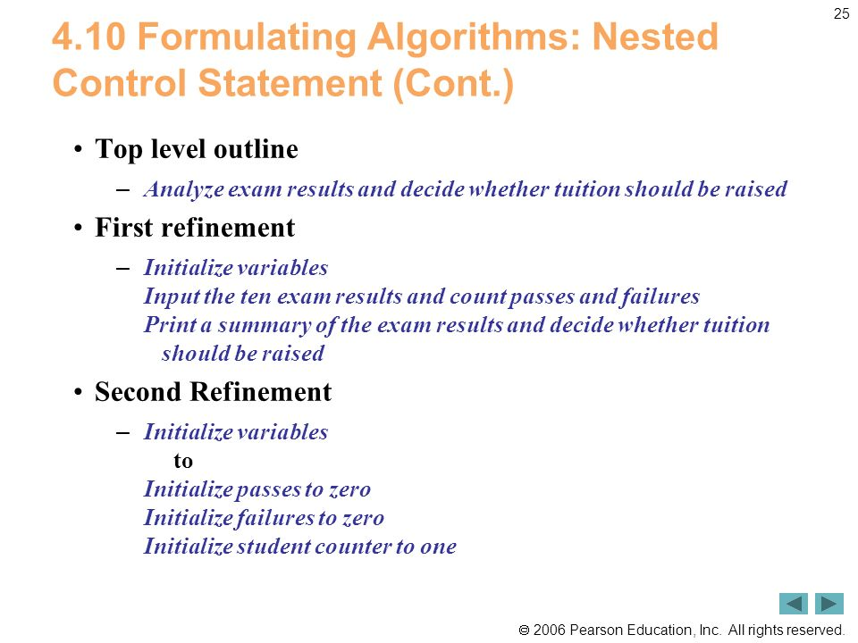 2006 Pearson Education, Inc. All rights reserved. 25 4.10 Formulating Algorithms: Nested Control Statement (Cont.) Top level outline – Analyze exam re