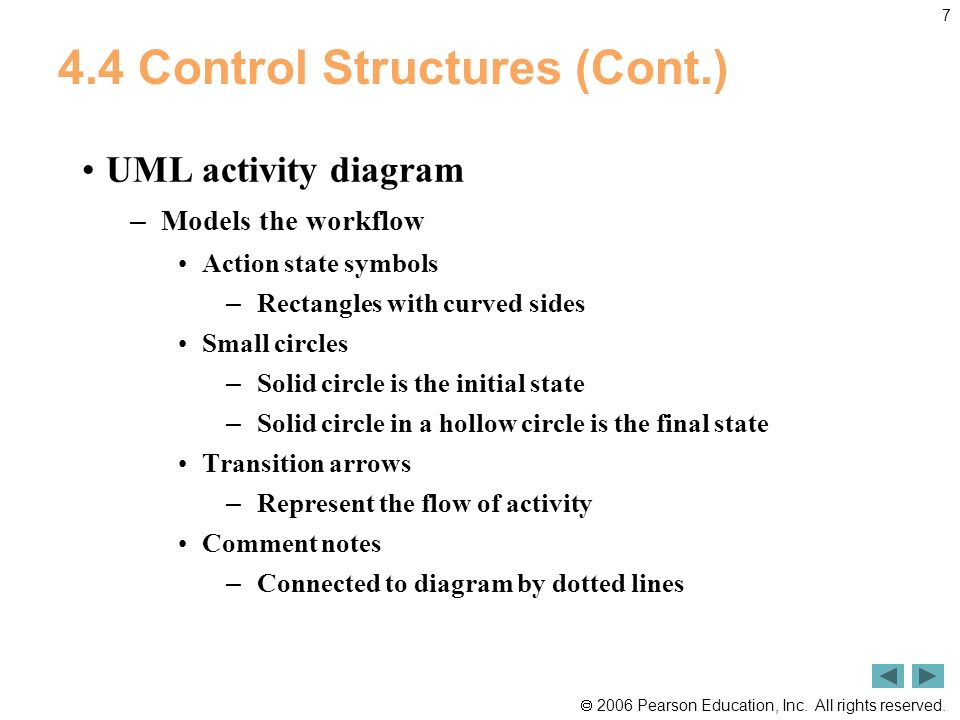 2006 Pearson Education, Inc. All rights reserved. 7 4.4 Control Structures (Cont.) UML activity diagram – Models the workflow Action state symbols – R