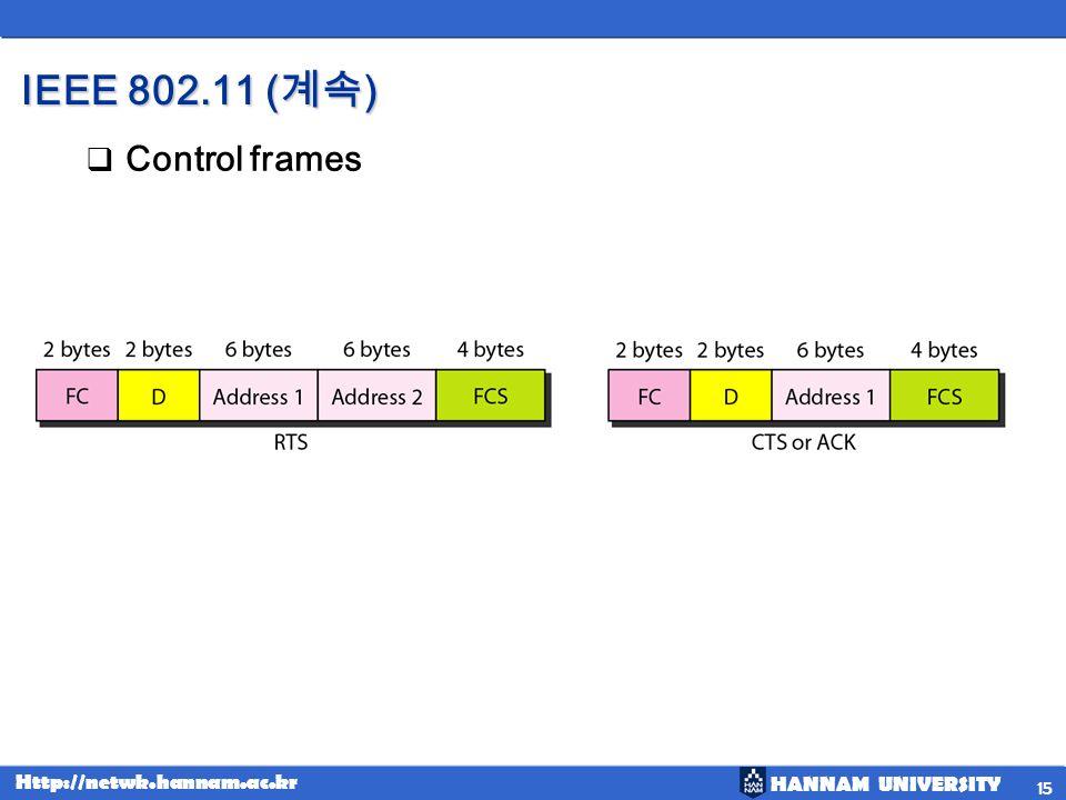 HANNAM UNIVERSITY Http://netwk.hannam.ac.kr IEEE 802.11 ( ) Control frames 15