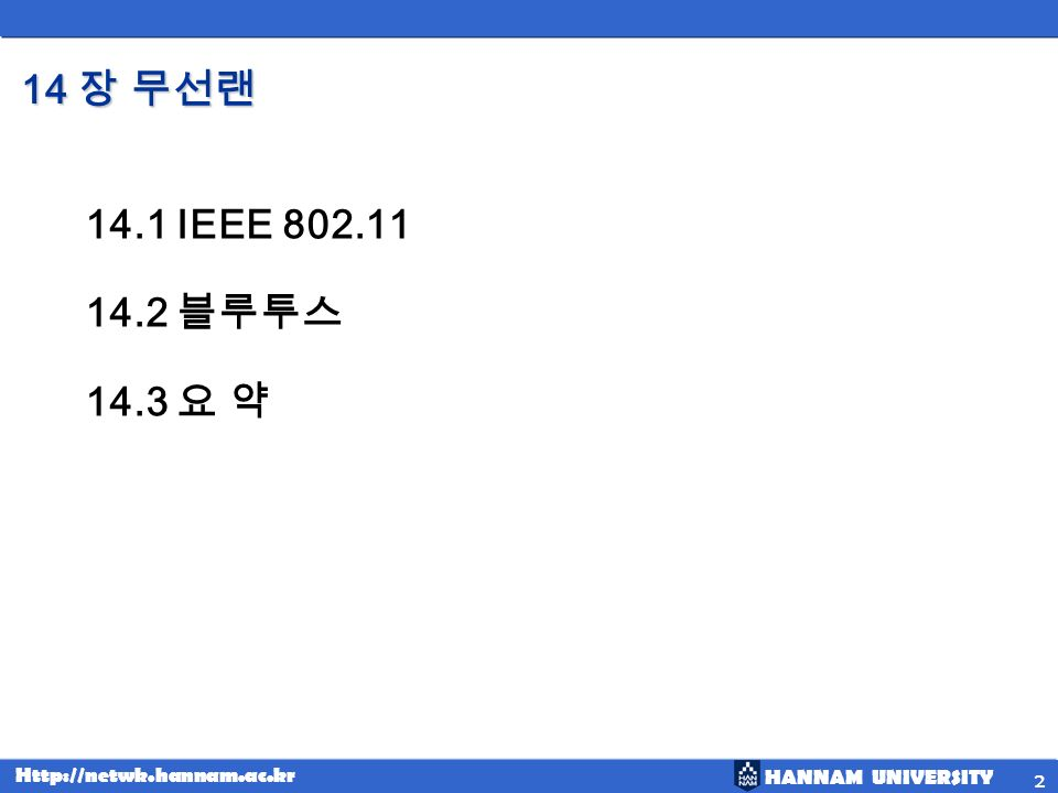 HANNAM UNIVERSITY Http://netwk.hannam.ac.kr 3 14.1 IEEE 802.11 Topics discussed in this section: IEEE has defined the specifications for a wireless LAN, called IEEE 802.11, which covers the physical and data link layers.
