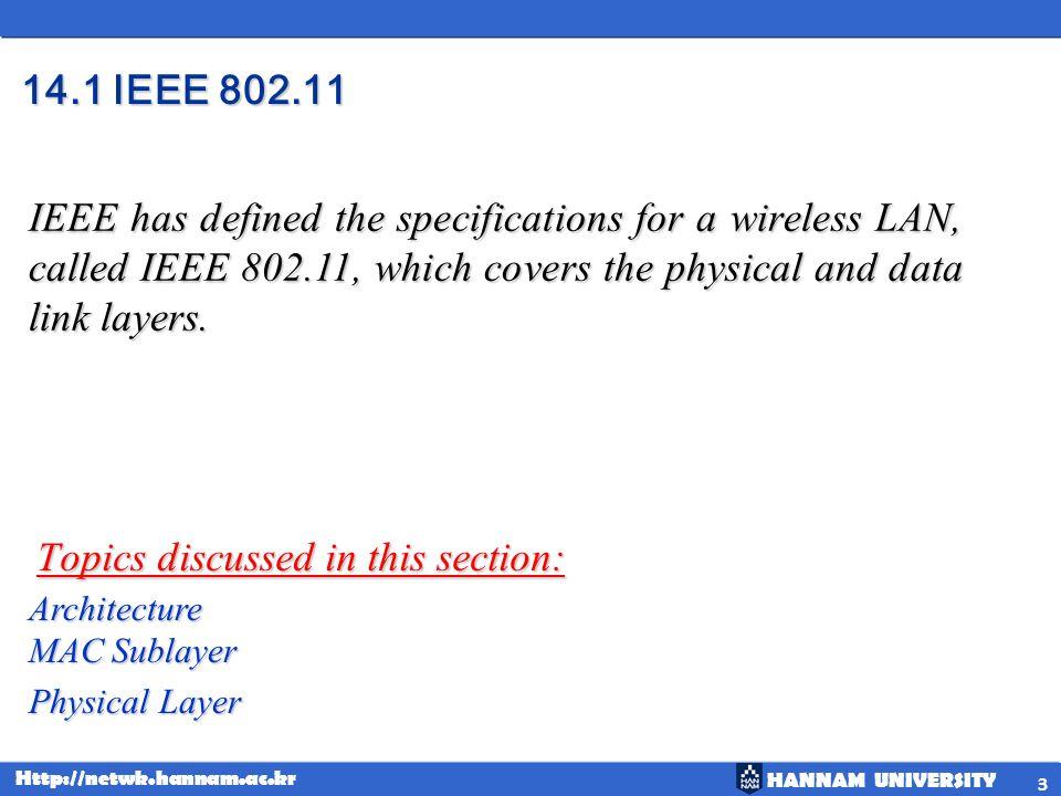 HANNAM UNIVERSITY Http://netwk.hannam.ac.kr IEEE 802.11 ( ) Physical layers 24