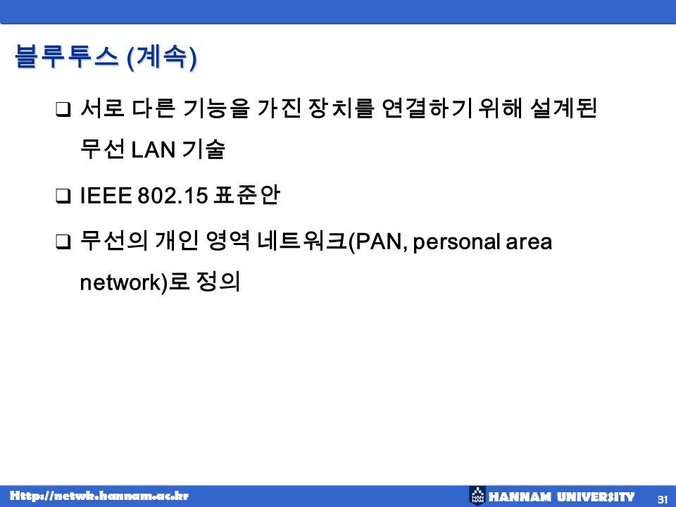 HANNAM UNIVERSITY Http://netwk.hannam.ac.kr ( ) ( ) LAN IEEE 802.15 (PAN, personal area network) 31