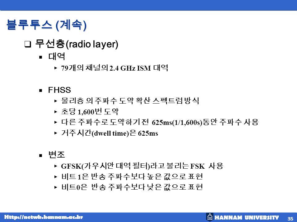 HANNAM UNIVERSITY Http://netwk.hannam.ac.kr ( ) ( ) (radio layer) 79 2.4 GHz ISM FHSS 1,600 625ms(1/1,600s) (dwell time) 625ms GFSK( ) FSK 1 0 35
