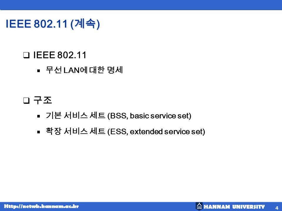 HANNAM UNIVERSITY Http://netwk.hannam.ac.kr IEEE 802.11 ( ) 5 A BSS without an AP is called an ad hoc network; a BSS with an AP is called an infrastructure network.