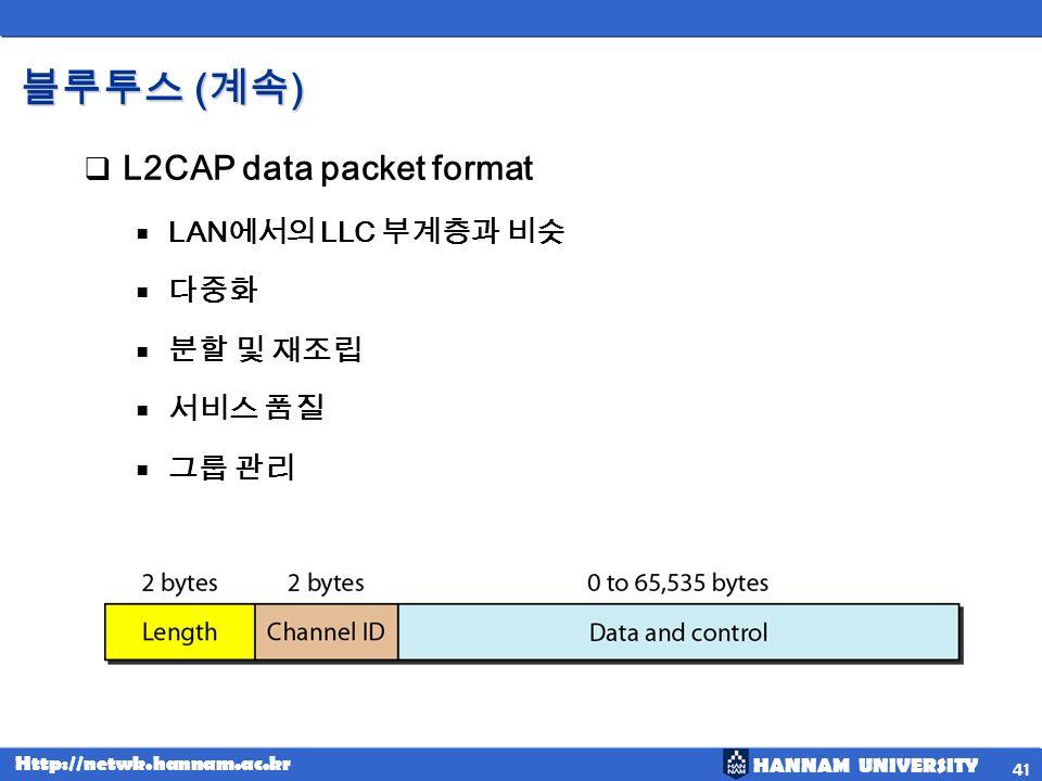 HANNAM UNIVERSITY Http://netwk.hannam.ac.kr ( ) ( ) L2CAP data packet format LAN LLC 41