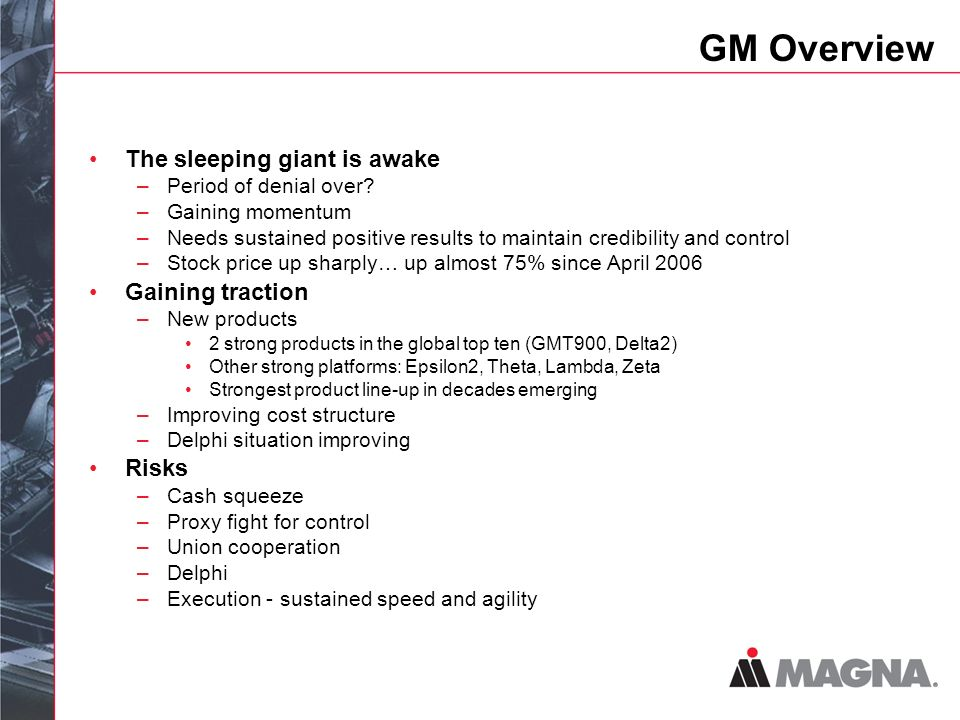 GM Overview The sleeping giant is awake –Period of denial over.