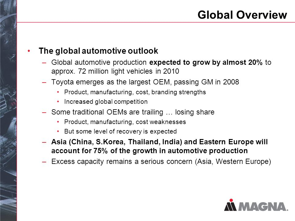 Global Overview The global automotive outlook –Global automotive production expected to grow by almost 20% to approx.