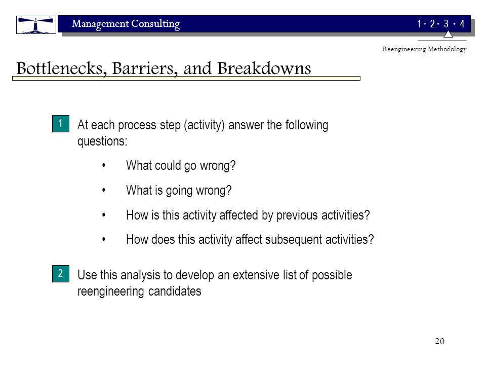 Management Consulting 1 2 3 4 20 1 At each process step (activity) answer the following questions: What is going wrong.