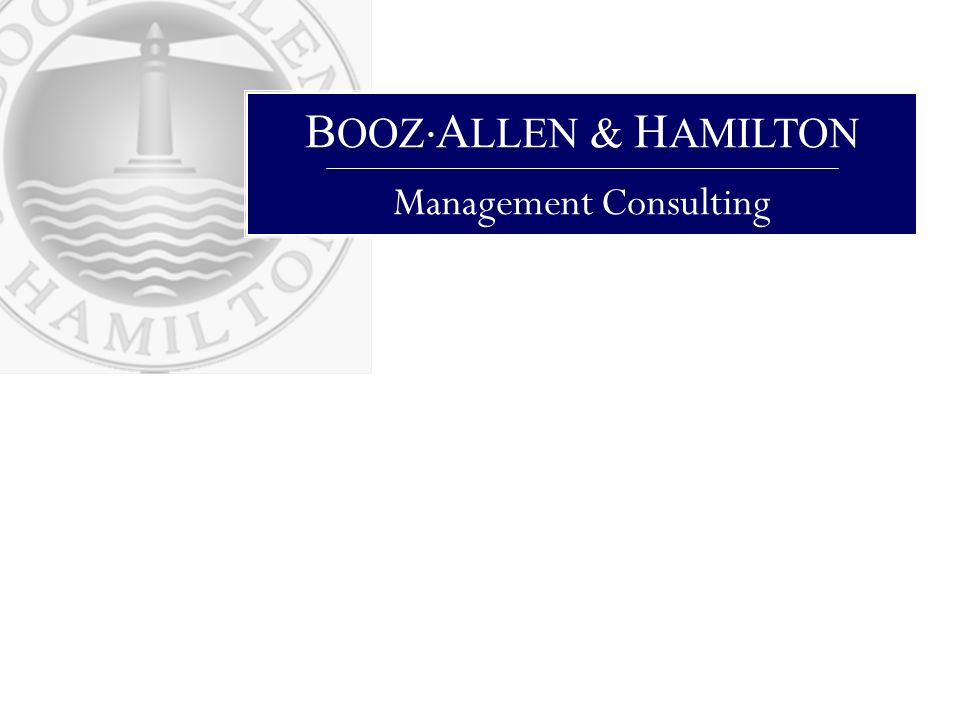B OOZ A LLEN & H AMILTON Management Consulting