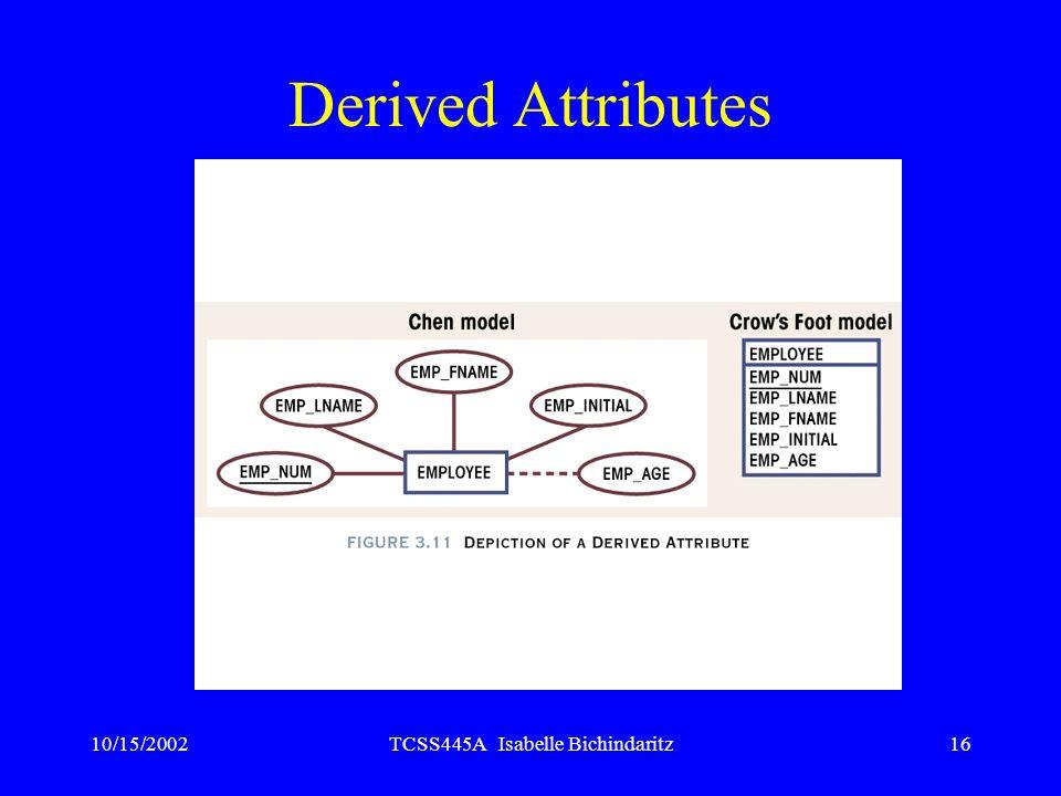 10/15/2002TCSS445A Isabelle Bichindaritz16 Derived Attributes