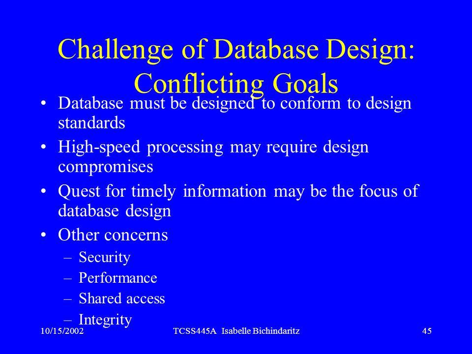 10/15/2002TCSS445A Isabelle Bichindaritz45 Challenge of Database Design: Conflicting Goals Database must be designed to conform to design standards Hi