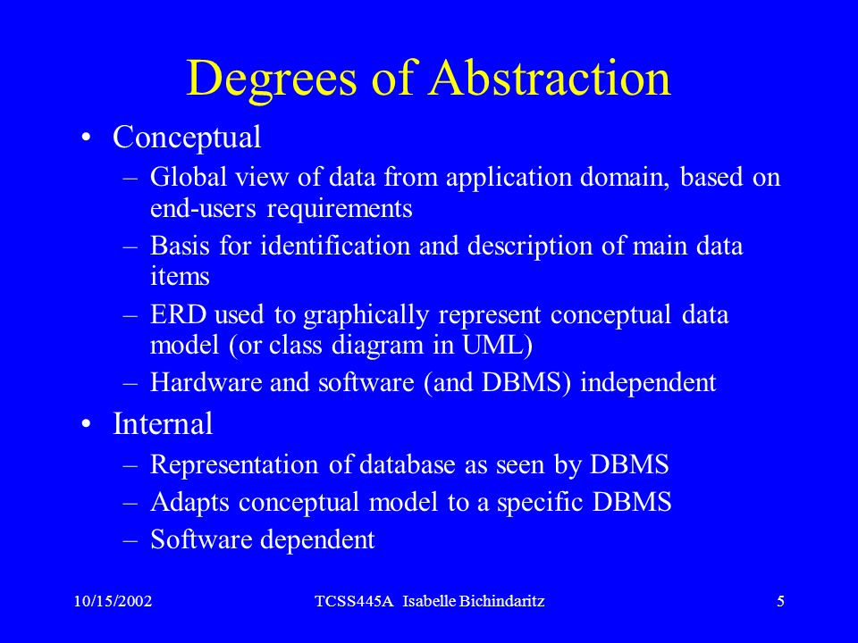 10/15/2002TCSS445A Isabelle Bichindaritz5 Degrees of Abstraction Conceptual –Global view of data from application domain, based on end-users requireme