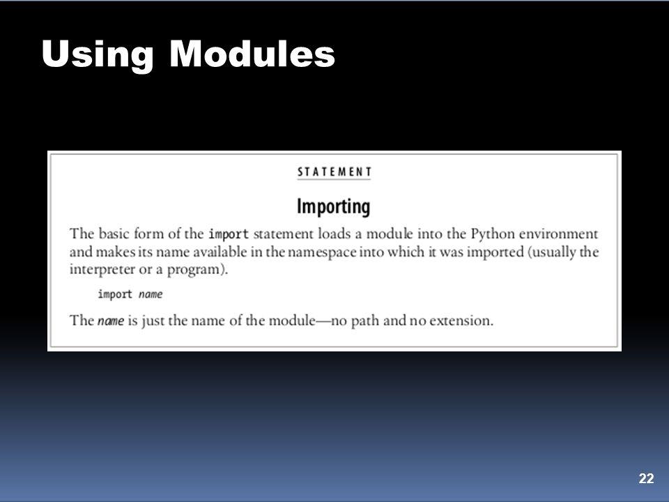 Using Modules 22