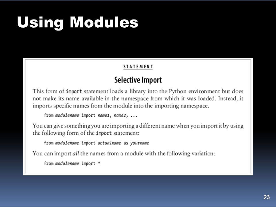 Using Modules 23