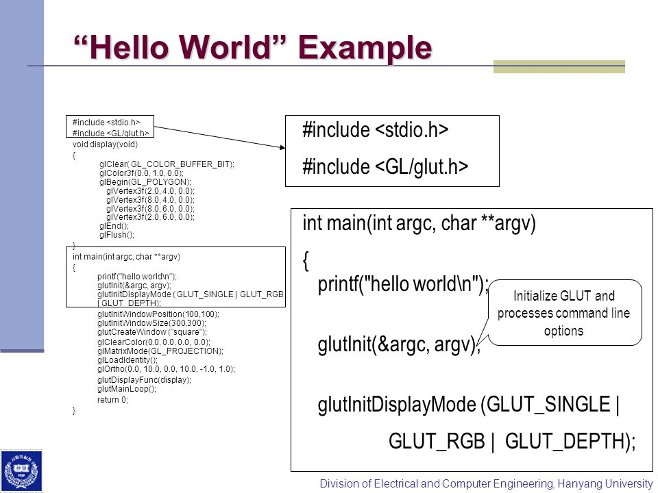 Division of Electrical and Computer Engineering, Hanyang University Hello World Example #include void display(void) { glClear( GL_COLOR_BUFFER_BIT); g