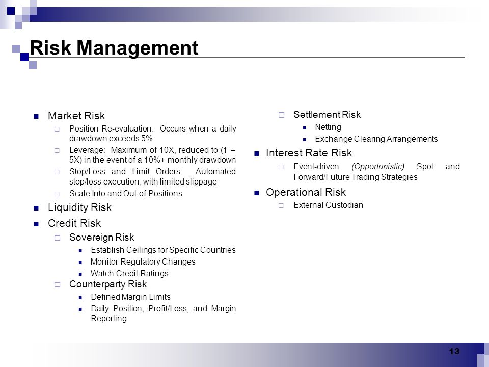 13 Risk Management Market Risk Position Re-evaluation: Occurs when a daily drawdown exceeds 5% Leverage: Maximum of 10X, reduced to (1 – 5X) in the ev