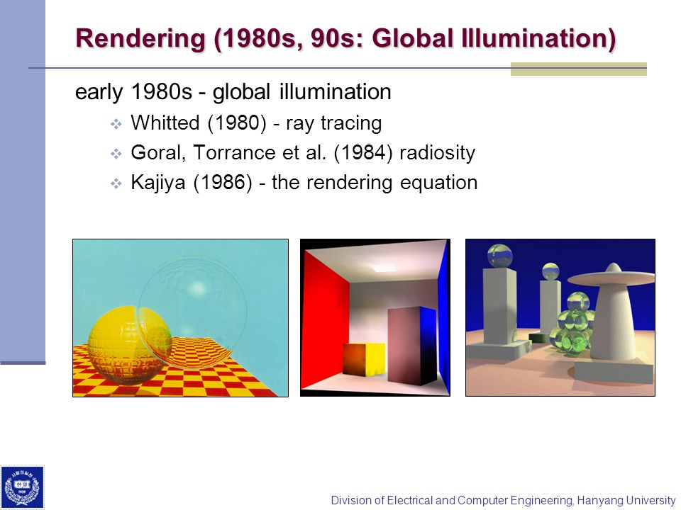 Division of Electrical and Computer Engineering, Hanyang University Rendering (1980s, 90s: Global Illumination) early 1980s - global illumination Whit