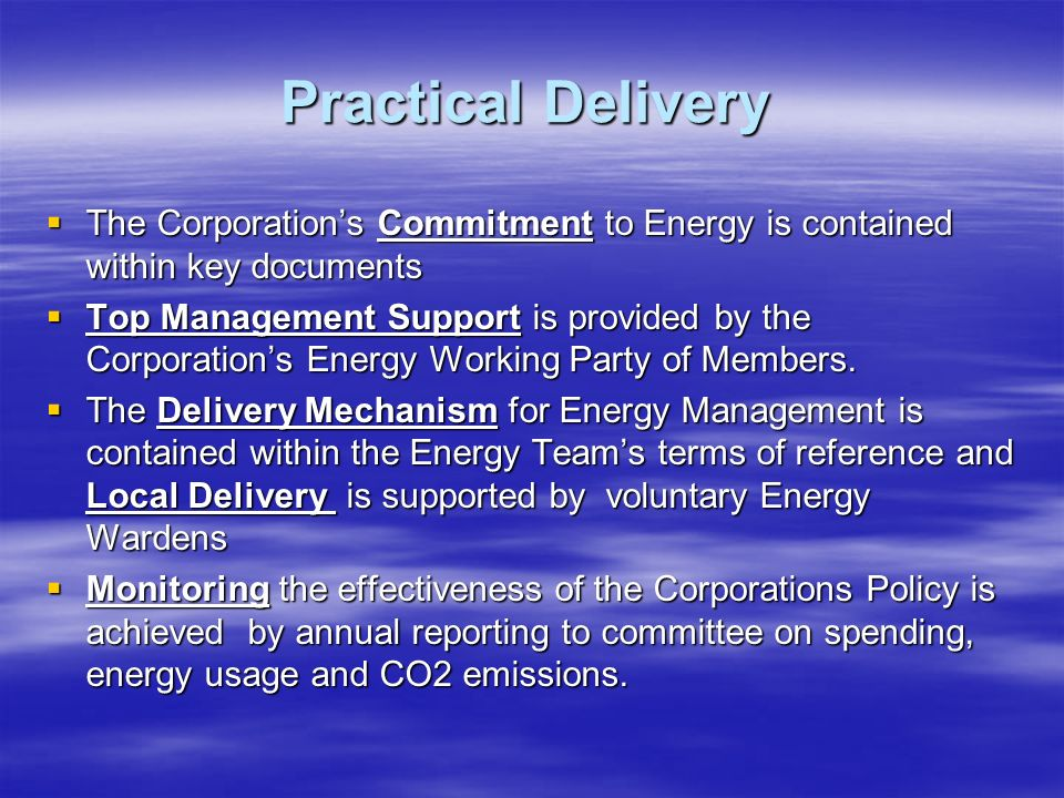 The Corporations Commitment to Energy is contained within key documents The Corporations Commitment to Energy is contained within key documents Top Management Support is provided by the Corporations Energy Working Party of Members.