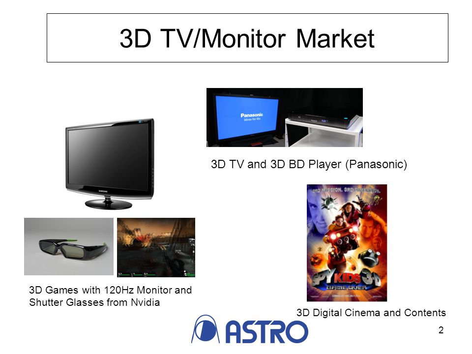 2 3D TV/Monitor Market 3D Games with 120Hz Monitor and Shutter Glasses from Nvidia 3D Digital Cinema and Contents 3D TV and 3D BD Player (Panasonic)