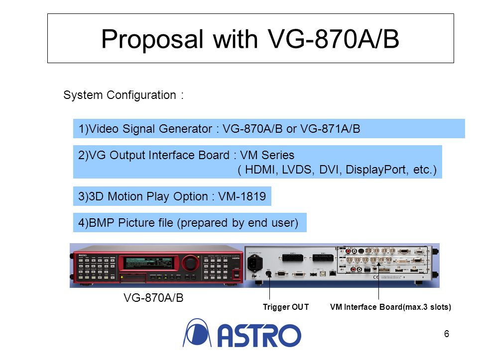 6 Proposal with VG-870A/B System Configuration : 1)Video Signal Generator : VG-870A/B or VG-871A/B 2)VG Output Interface Board : VM Series ( HDMI, LVDS, DVI, DisplayPort, etc.) 3)3D Motion Play Option : VM-1819 Trigger OUTVM Interface Board(max.3 slots) VG-870A/B 4)BMP Picture file (prepared by end user)