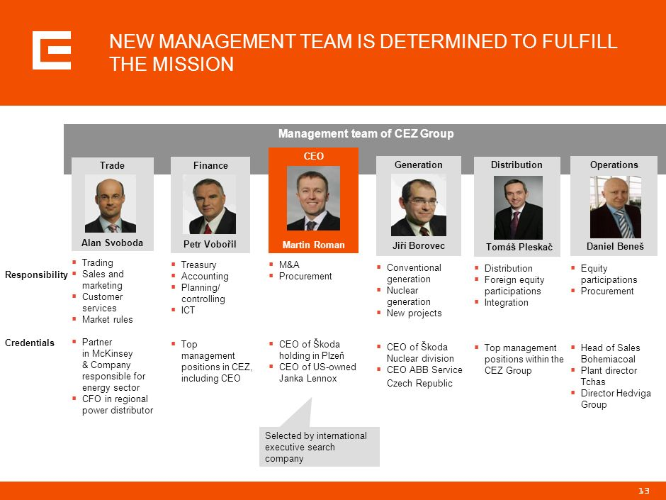 12 VISION OF THE CEZ GROUP IS TO BE THE LEADER IN POWER MARKETS IN CENTRAL AND SOUTHEASTERN EUROPE Our vision The leader in power markets in the Centr