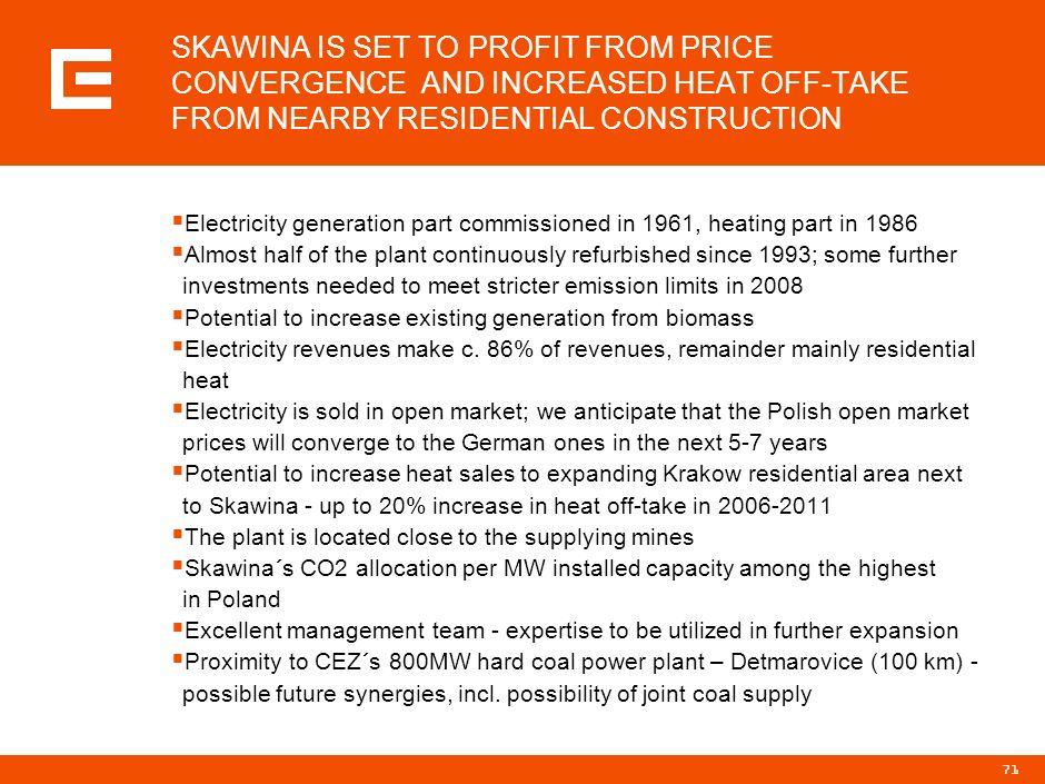 70 SKAWINA IS AN UPGRADED PLANT WITH EXPOSURE TO OPEN MARKET Basic figures million EUR* 20032004 Revenues98.699.5 EBITDA11.59.0 EBIT6.73.8 Net profit5