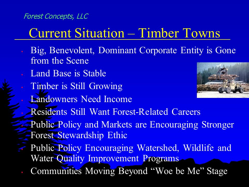Current Situation – Timber Towns Big, Benevolent, Dominant Corporate Entity is Gone from the Scene Land Base is Stable Timber is Still Growing Landowners Need Income Residents Still Want Forest-Related Careers Public Policy and Markets are Encouraging Stronger Forest Stewardship Ethic Public Policy Encouraging Watershed, Wildlife and Water Quality Improvement Programs Communities Moving Beyond Woe be Me Stage Forest Concepts, LLC