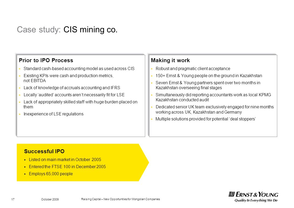 Raising Capital – New Opportunities for Mongolian Companies October 2009 17 Case study: CIS mining co. Successful IPO Listed on main market in October