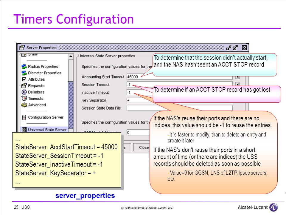 All Rights Reserved © Alcatel-Lucent 2007 25 | USS Timers Configuration … StateServer_AcctStartTimeout = 45000 StateServer_SessionTimeout = -1 StateSe