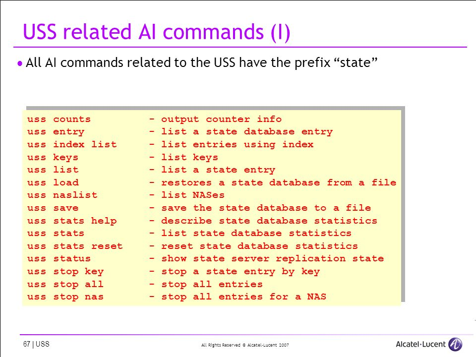 All Rights Reserved © Alcatel-Lucent 2007 67 | USS USS related AI commands (I) All AI commands related to the USS have the prefix state uss counts - o
